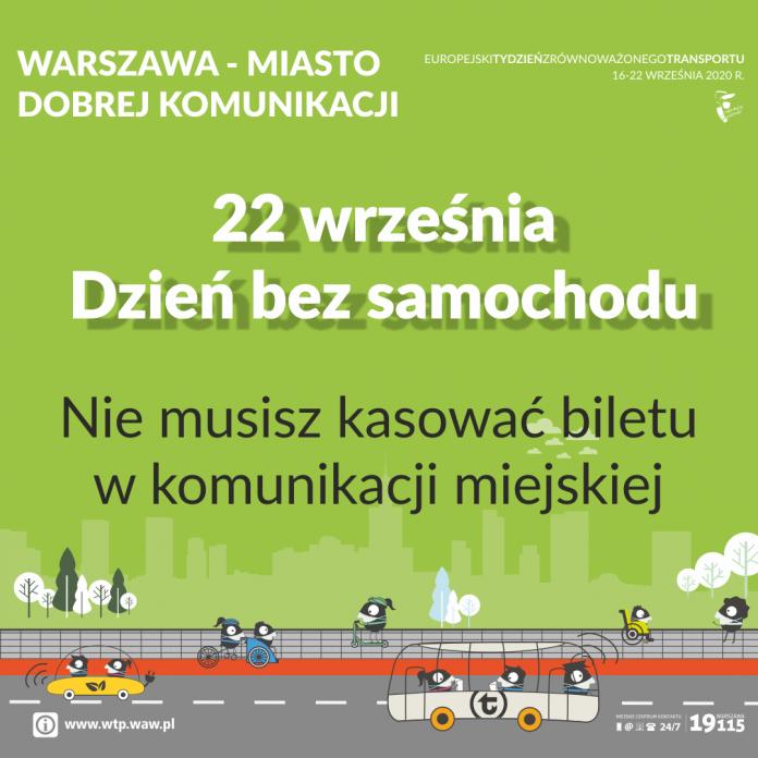 22 września Europejski Dzień bez Samochodu - nie musisz kasować bilety w komunikacji miejskiej