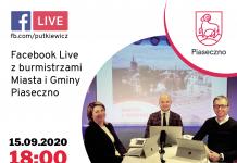 na zdjęciu znajdują się burmistrzowie Piaseczna oraz termin najbliższego live z burmistrzami czyli 15 września 2020 roku o godz. 18.00 - zapraszamy