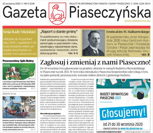 Pierwsza strona Gazety Piaseczyńskiej nr 5/2020