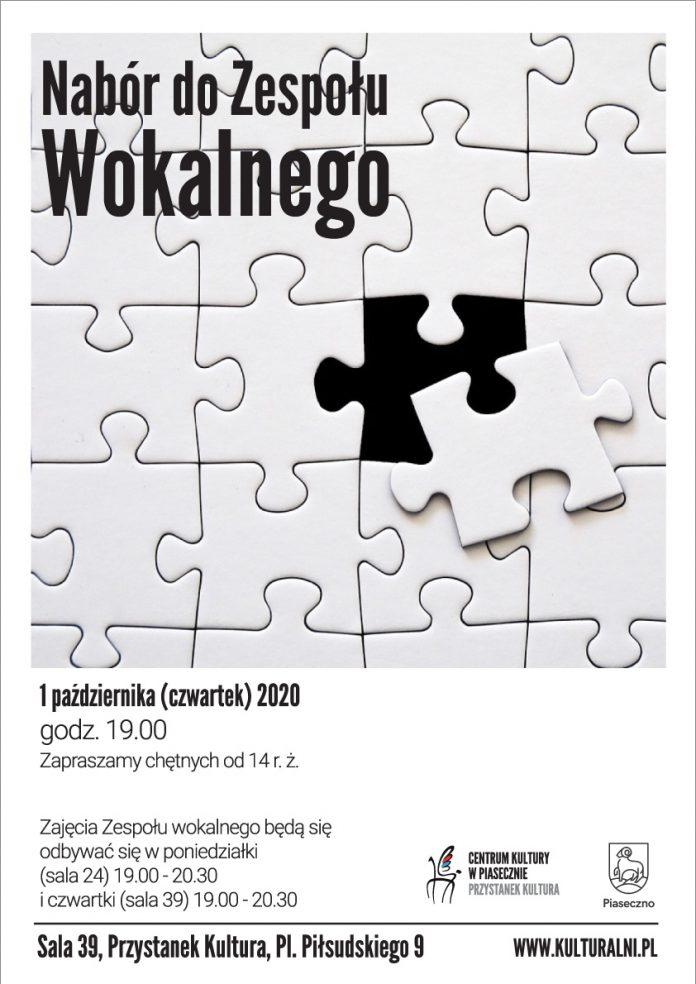 Plakat wydarzenia nabór do zespołu wokalnego