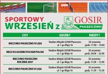 Na plakacie znajduje się wykaz wydarzeń sportowych organizowanych we wrześniu 2020 roku przez GOSiR Piaseczno