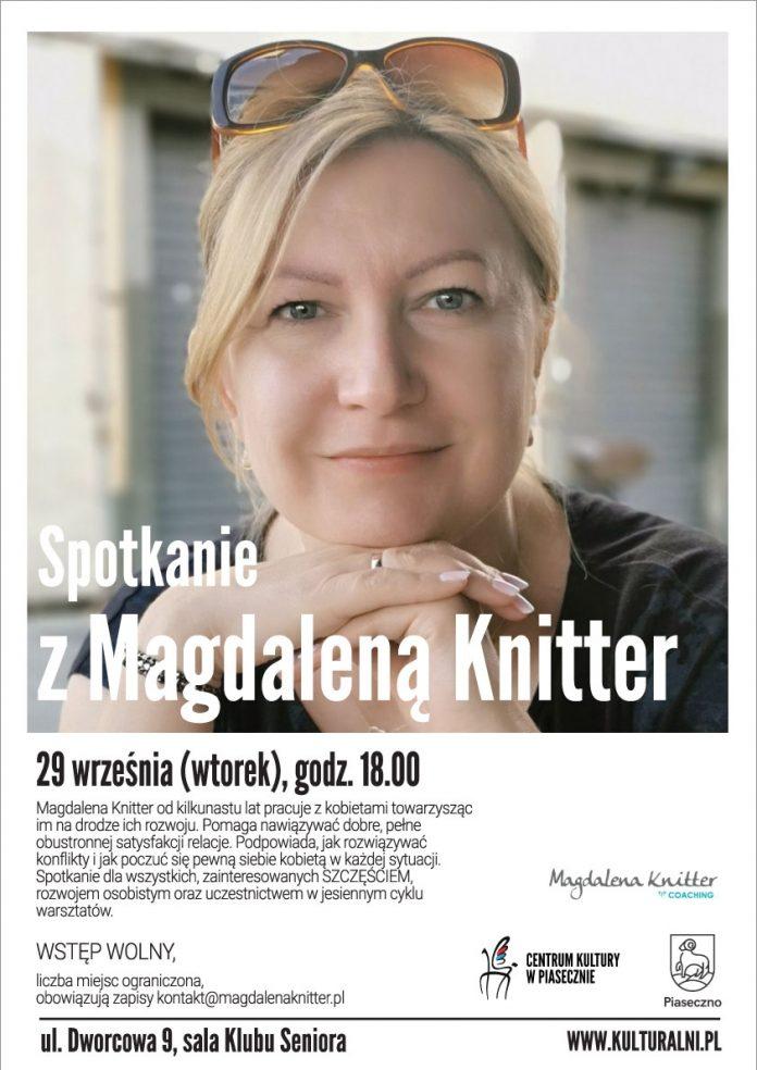 Plakat na spotkanie z Magdaleną Knitter w Piasecznie, na którym znajdują się informacje o poszczególnych koncertach (terminy, miejsce, zespoły). Informacje takie same znajdują się w treści wpisu.