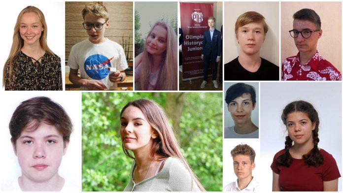 Stypendyści Burmistrza Miasta i Gminy Piaseczno - na zdjęciu twarze nagrodzonych osób