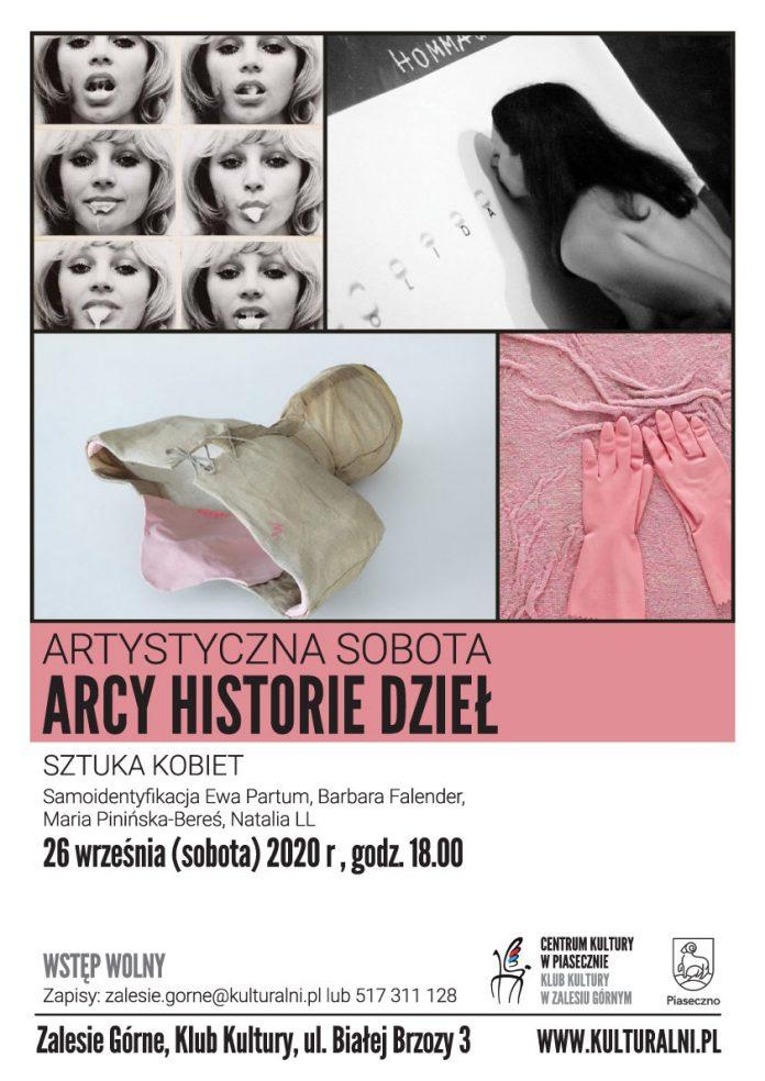 Plakat Sztuka kobiet Artystyczna Sobota Arcy Historie Dzieł w Zalesiu Górnym