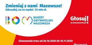 Ilustracja. Budżet Obywatelski Mazowsza. Zmieniaj z nami Mazowsze. Zdecyduj, na co wydać 25 mln zł. Głosowanie trwa od 26 października do 16 listopada 2020 r. Więcej informacji pod nr tel.: +48 22 5979664 lub na bom@mazovia.pl