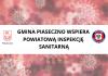 Na planszy widac logo gminy oraz logo Sanepidu na tle obrazka koronawirusa