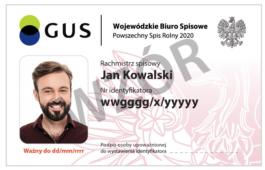 Rachmistrz spisowy legitymuje się oficjalnym identyfikatorem wydanym przez Wojewódzkie Biuro Spisowe.