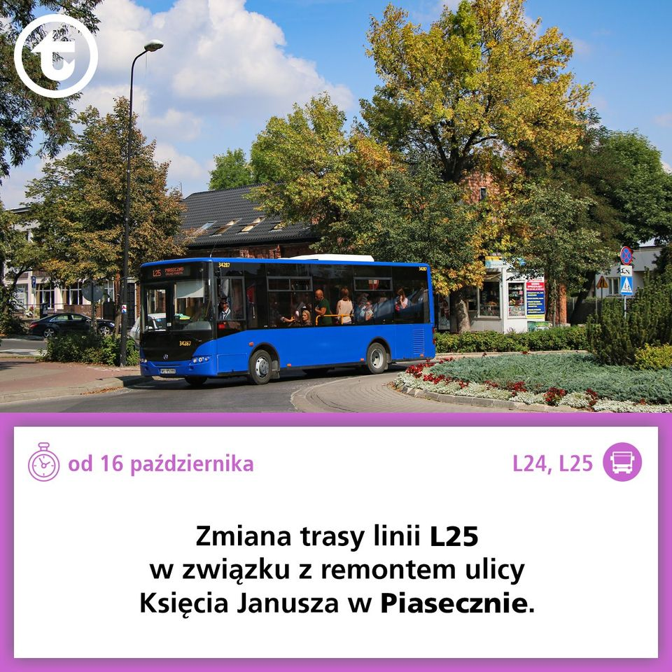 Ilustracja. Autobus L25. Od 16 października 2020 roku, z powodu remontu ulicy Księcia Janusza w Piasecznie, autobusy linii L25 zmienią trasę. Razem z linią L24 będą kursowały według specjalnego rozkładu jazdy.