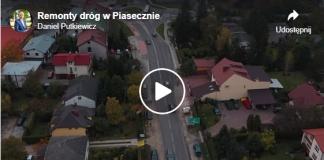 Zrzut ekranu z filmu. Remonty dróg w Piasecznie - videoreportaż