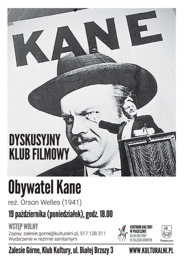 Ilustracja. Plakat do wydarzenia Obywatel Kane - Dyskusyjny Klub Filmowy w Zalesiu Górnym