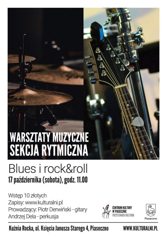 Ilustracja. Plakat wydarzenia warsztaty muzyczne w Kuźni Rocka - sekcja rytmiczna blues i rock&roll