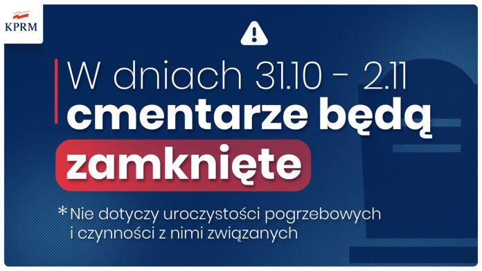 Ilustracja. W dniach 31.10-2.11.2020 r. cmentarze będą zamknięte