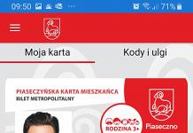 Mobilna wersja Piaseczyńskiej Karty Mieszkańca - ekran główny