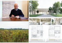 Ilustracja. Podpisanie umowy na dokumentację projektową nowego krytego basenu w Piasecznie. Na zdjęciu burmistrz podpisuje umowę, pod nim zdjęcie terenu na którym powstanie basen, obok projekt wybrany w konkursie.
