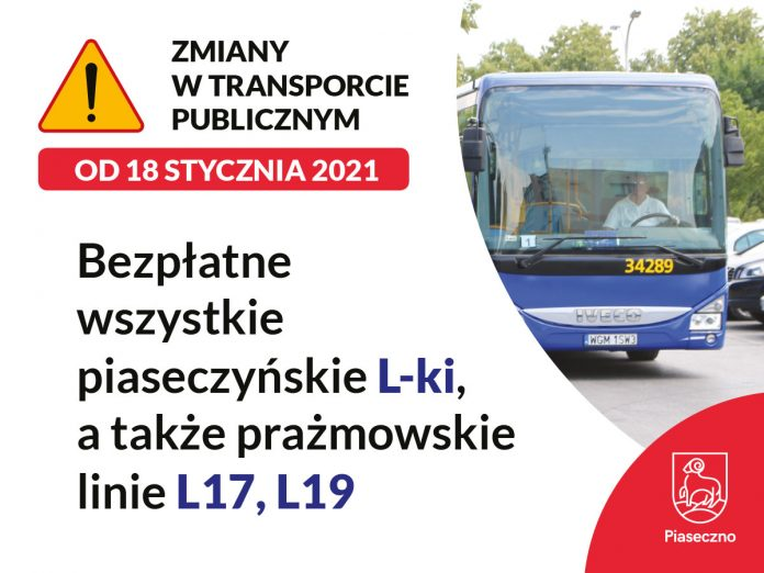 Linie tzw. prażmowskie bezpłatne od 18 stycznia dla posiadaczy Piaseczyńskiej Karty Mieszkańca.
