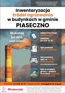 Plakat - inwentaryzacja indywidualnych źródeł ciepła na terenie gminy Piaseczno