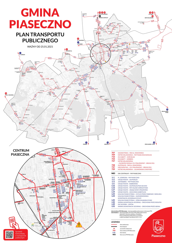 Mapa gminy z zaznaczonymi trasami przejazdu autobusów linii L oraz 7xx Plan transportu publicznego na terenie gminy Piaseczno (ważny od 25 stycznia 2021 roku)