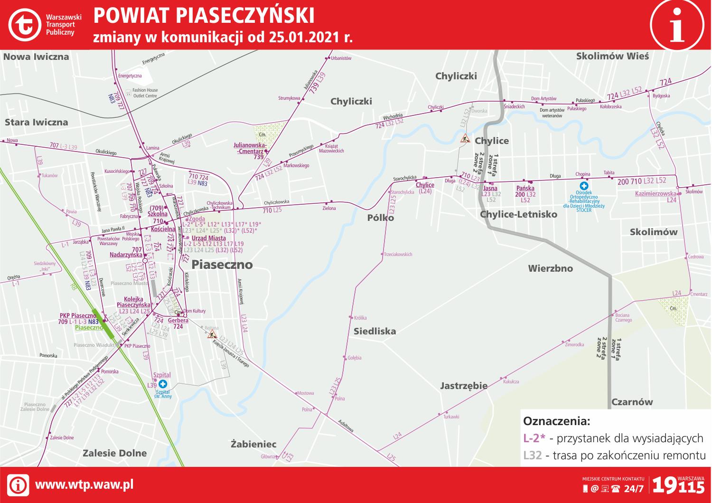 zmiana tras autobusowych od 25 stycznia 2021 - mapa ZTM Warszawa
