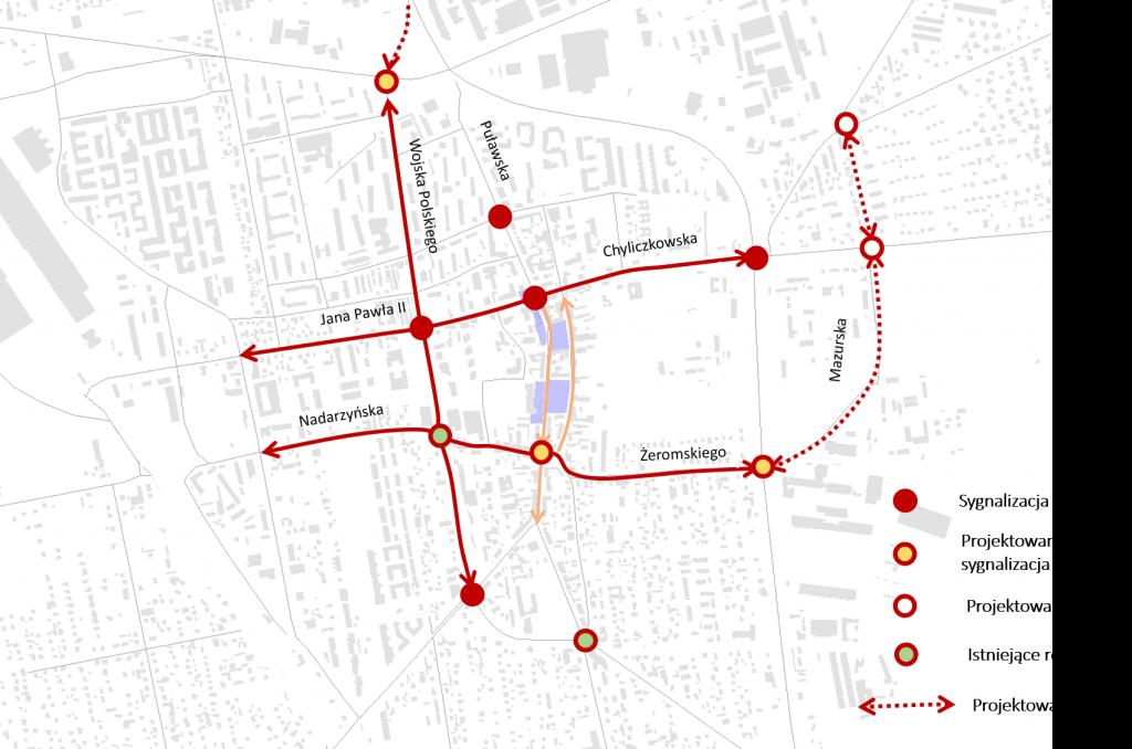 Ilustracja. Zdjęcie przedstawia układ komunikacyjny w centrum Piaseczna z zaznaczonymi sygnalizacjami świetlnymi, rondami oraz projektami budowy świateł rond oraz nowych odcinków drogi.