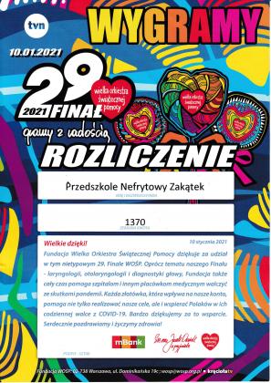 Ilustracja. Nefrytowy Zakątek wspiera WOŚP. Rozliczenie zbiórki. Zebrana kwota 1370 zł.