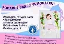 Ulotka. Basia Łubińska prosi o 1% na rehabilitację i leczenie