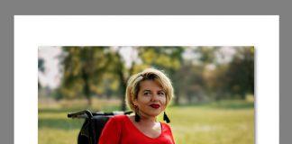 Ulotka. Edyta Banasiewicz prosi o 1% na pomoc asystentów oraz zakup domowego wózka elektrycznego