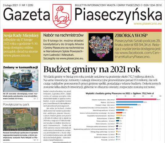 Ilustracja. Pierwsza strona Biuletynu Informacji Publicznej UMiG Piaseczno Gazeta Piaseczyńska nr 1/2021