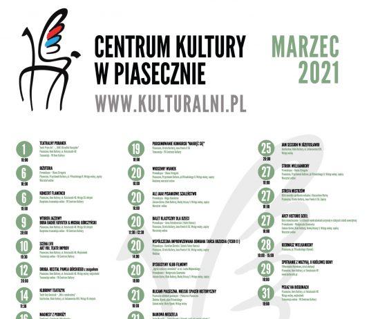 Plakat zbiorczy kulturalny marzec 2021 Centrum Kultury w Piasecznie