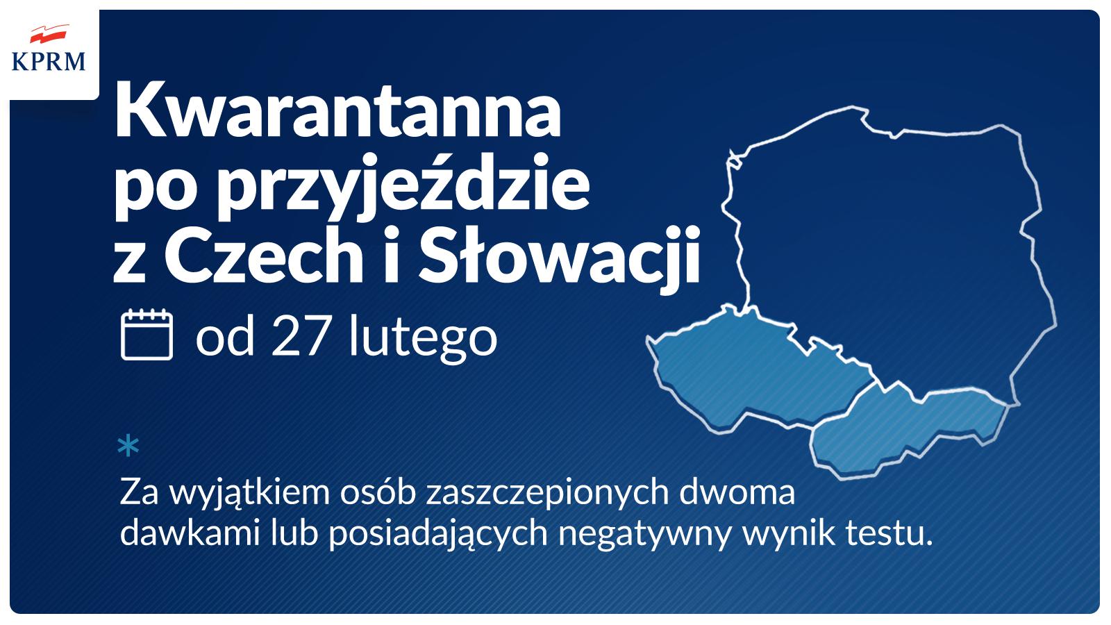 Od soboty 27 lutego wprowadzamy obowiązek odbycia kwarantanny po przyjeździe do Polski z Czech lub Słowacji. Z wyłączeniem osób zaszczepionych dwoma dawkami szczepionki lub posiadających negatywny wynik testu.