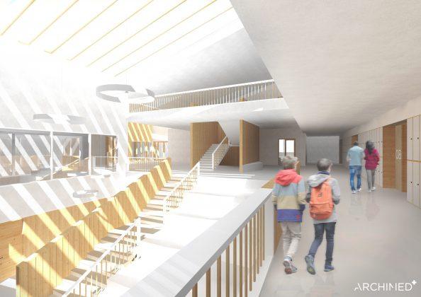 Ilustracja. Nowa szkoła i biblioteka w Julianowie- szkic przestrzeń komunikacyjna. Zdjęcie przedstawia korytarze, schody wewnątrz budynku. Na zdjęciu widoczne 4 osoby idące korytarzem.