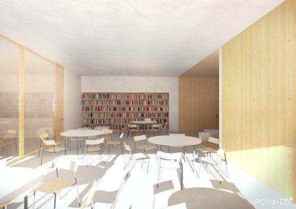 Ilustracja. Nowa szkoła i biblioteka w Julianowie - szkic. zdjęcie przedstawia pomieszczenie z przeznaczeniem na salę wielofunkcyjną wyposażoną w okrągłe stoły i krzesła.