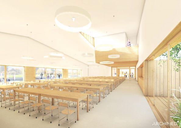 Ilustracja. Nowa szkoła i biblioteka w Julianowie - szkic. Zdjęcie przedstawia duże pomieszczenie z przeznaczeniem na stołówkę szkolną wyposażoną w stoły i krzesła.