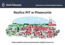 Plakat PIT Piaseczno 2021. Pieniądze do nas wracają. Na co idą moje pieniądze.