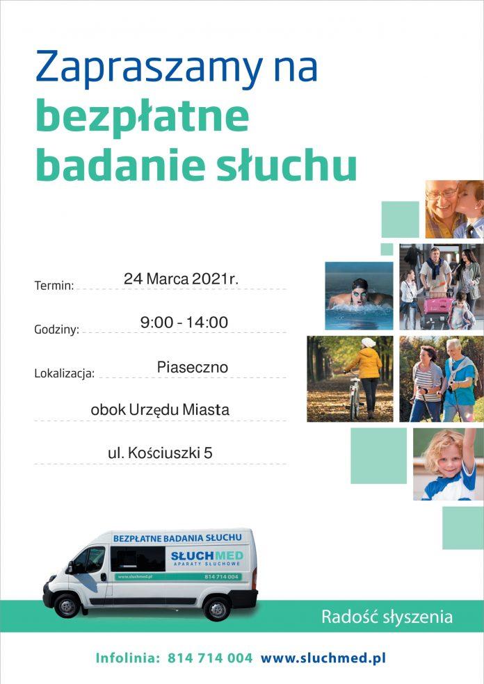 Plakat wydarzenia bezpłatne badanie słuchu w Piasecznie