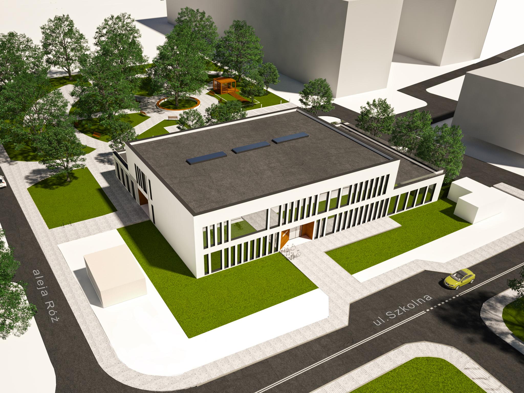Ilustracja. Dom Seniora, który powstanie przy skrzyżowaniu ulicy Szkolnej z aleją Róż - wizualizacja 1