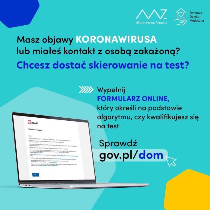 Ilustracja. Formularz kwalifikacji na test w kierunku SARS-CoV-2