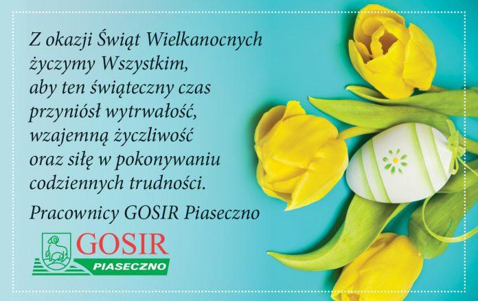Ilustracja. Wesołych Świąt Wielkanocnych. Życzenia wielkanocne GOSiR Piaseczno.