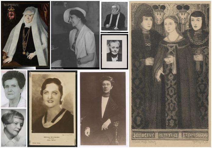 Kolaż zdjęć/grafik kobiet, które zapisały się w historii Piaseczna