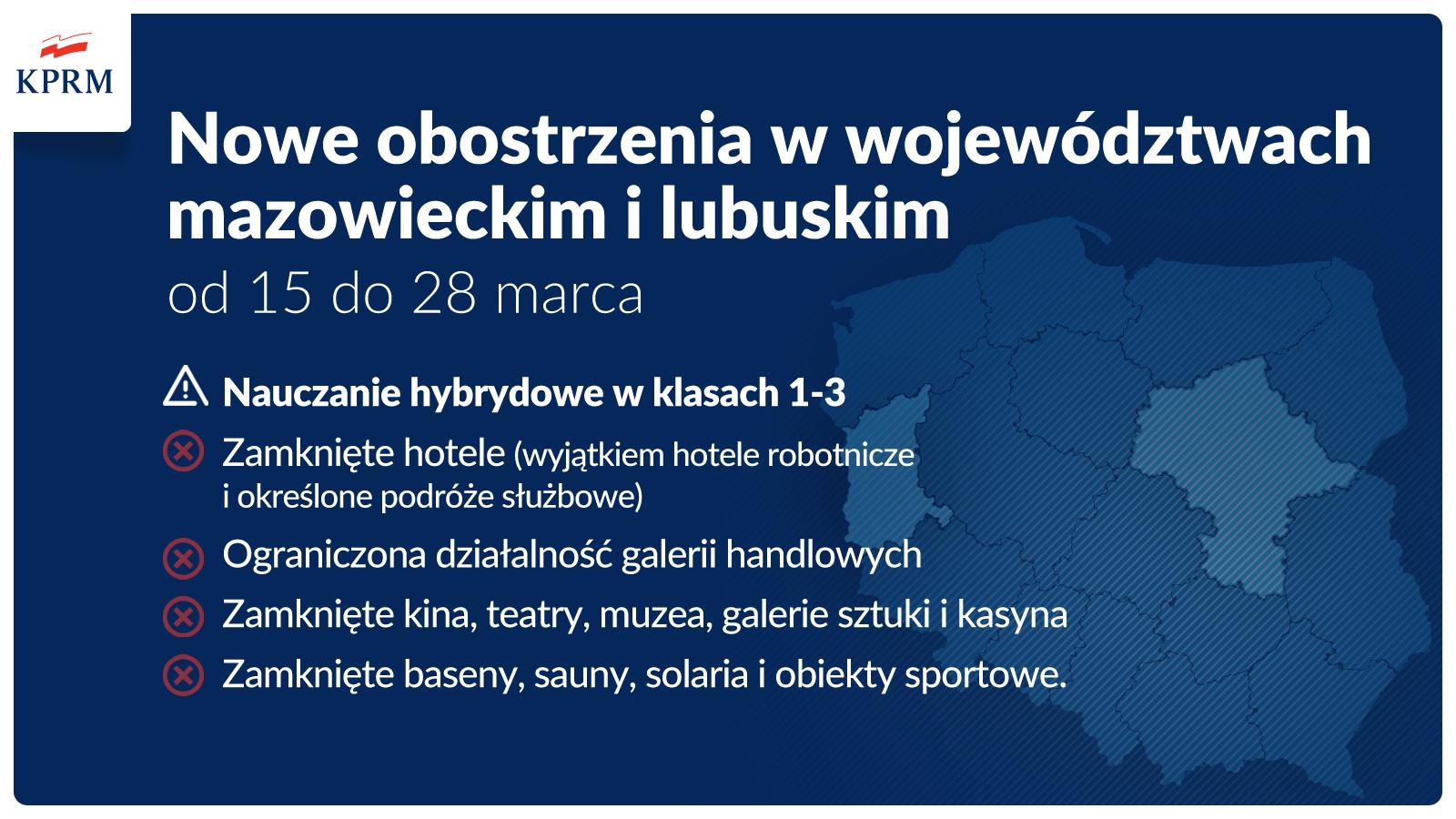 Ilustracja. Od 15 marca Mazowsze dołączy do regionów z zaostrzonymi zasadami bezpieczeństwa