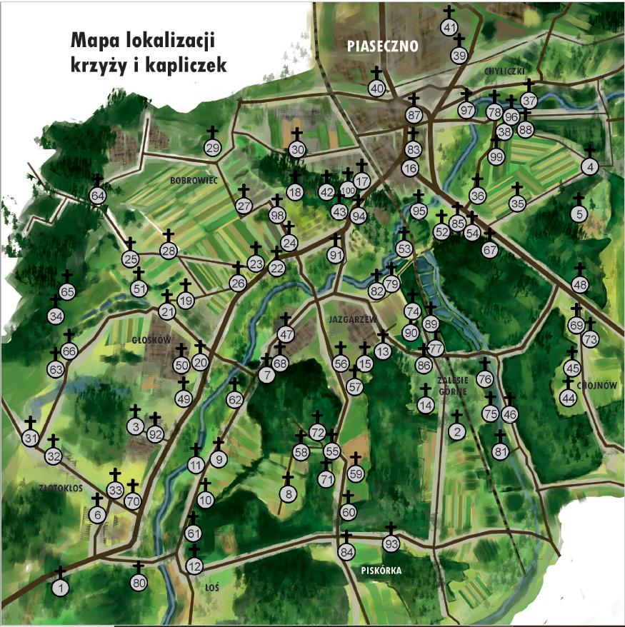 Kapliczki znad Jeziorki - mapa