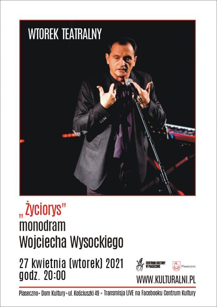 Monodram Wojciecha Wysockiego - plakat
