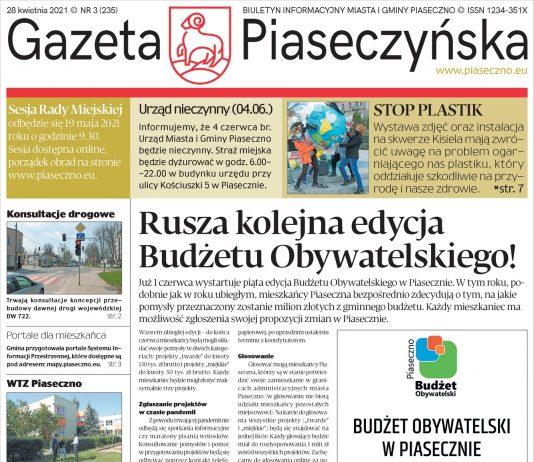 Ilustracja. Pierwsza strona Gazety Piaseczyńskiej nr 3/2021