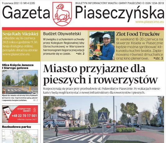 Ilustracja. Pierwsza strona Gazety Piaseczyńskiej nr 4/2021
