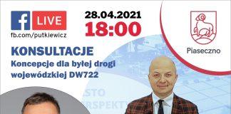 Ilustracja 28 kwietnia 2021 roku o godz. 18.00 odbędzie się Facebook Live burmistrza i wiceburmistrza Piaseczna - konsultacje koncepcje dla byłej drogi wojewódzkiej DW722