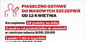 Masowe punkty szczepień w Piasecznie. Piaseczno gotowe do masowych szczepień od 12 kwietnia 2021 roku. Szczepienia 24 godziny na dobę, 2 punkty od poniedziałku do niedzieli w centrum Piaseczna w godz. 8.00-20.00 oraz 1 punkt 7 dni w tygodniu w szpitalu w godz. 20.00-08.00.