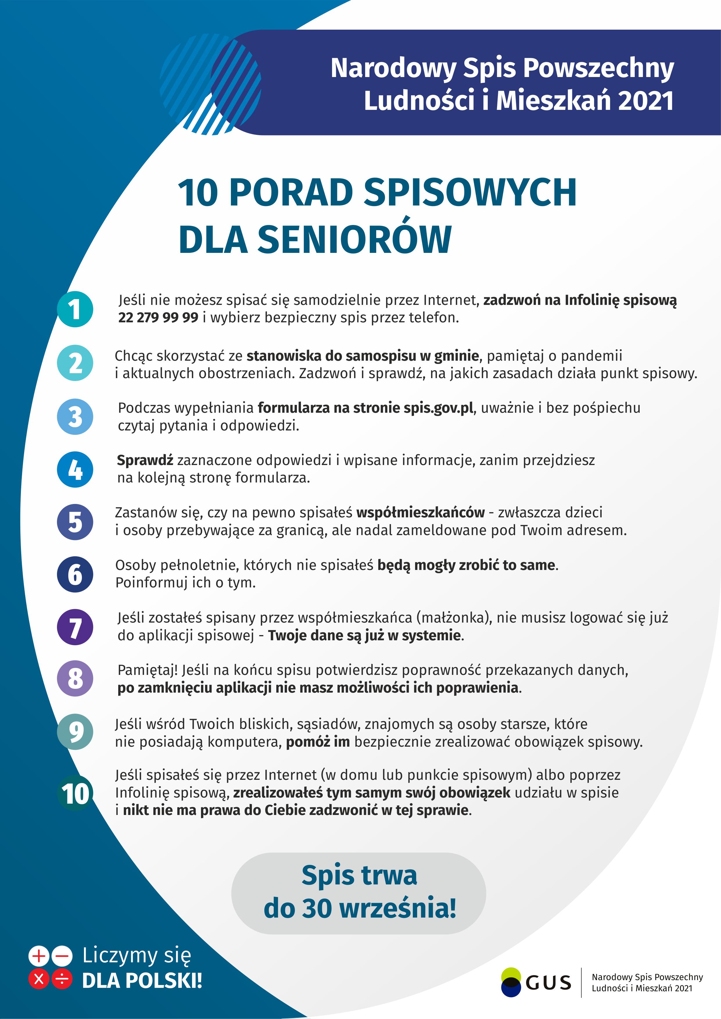 Ilustracja. 10 porad spisowych dla seniorów NSP2021