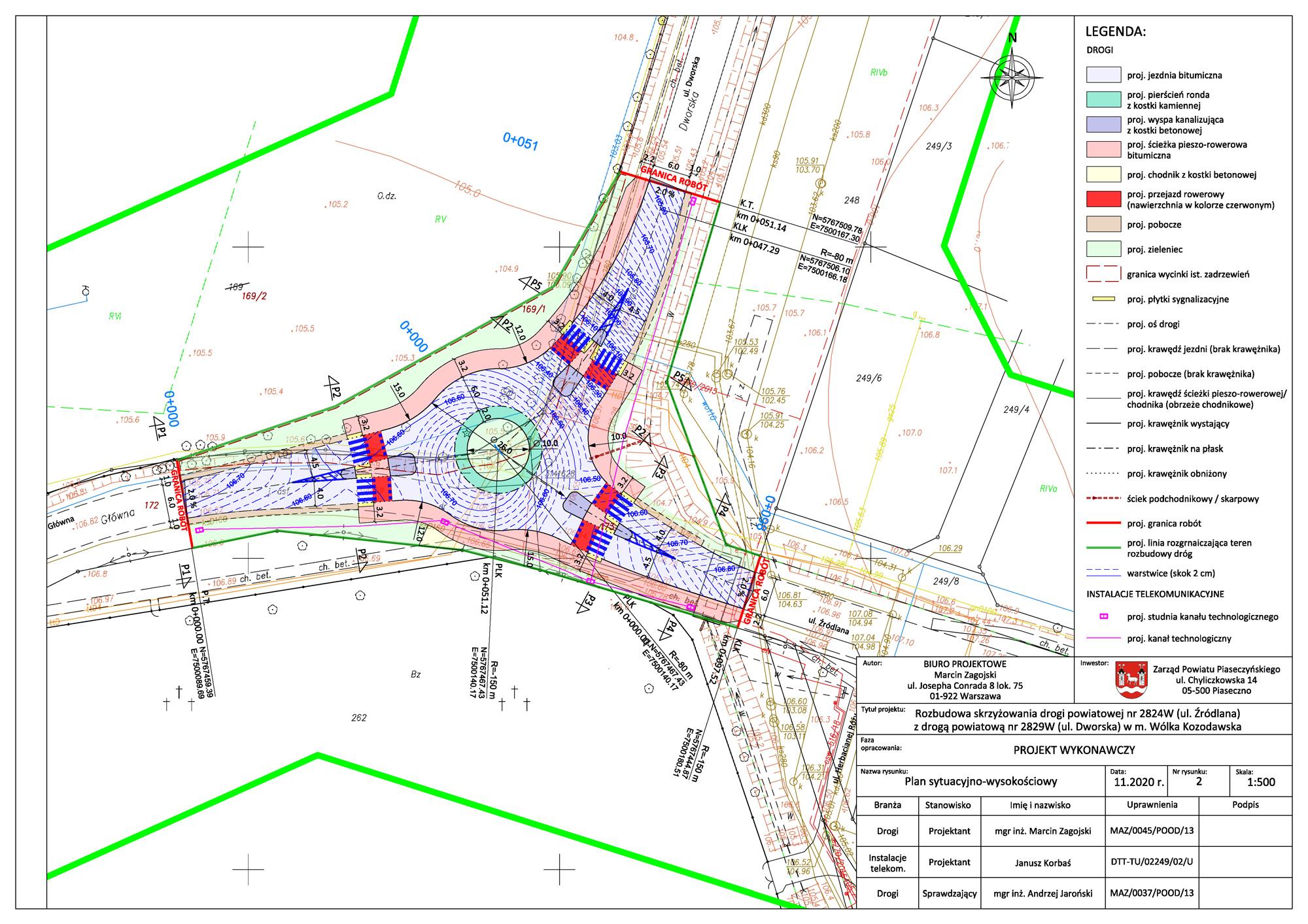 Ilustracja. Budowa ronda na skrzyżowaniu ul. Dworskiej i Źródlanej