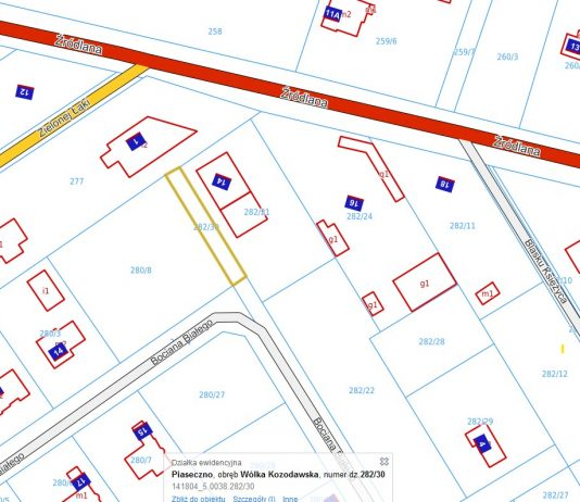 Ilustracja. Sprzedaż nieruchomości gruntowej nr 282/30 o powierzchni 200m2 w Wólce Kozodawskiej