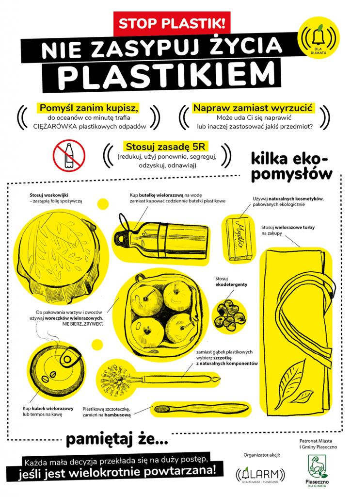Stop plastic - plakat, autorka Ela Kielczykowska