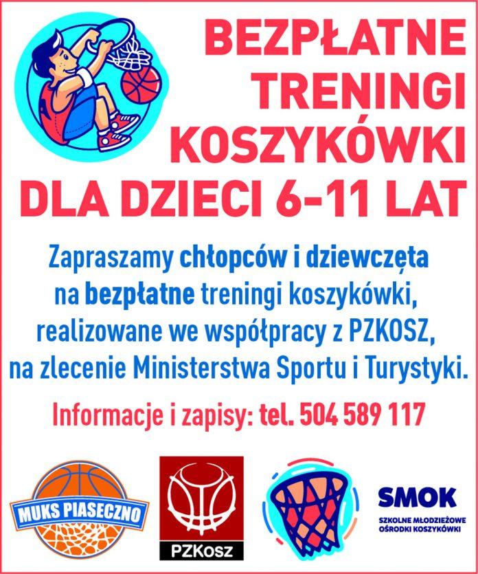 Ilustracja. Bezpłatne treningi koszykówki w Szkole Podstawowej nr 3 oraz w Szkole Podstawowej nr 5 w Piasecznie w ramach programu SMOK